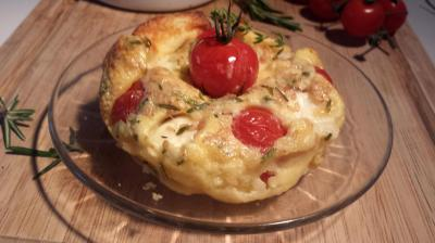 Clafoutis tomates cerise et mozza