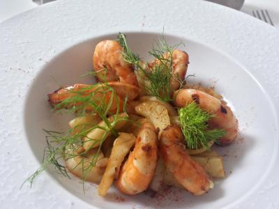 crevettes et fenouil
