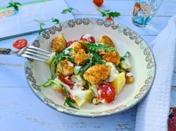 Cabillaud pane et salade