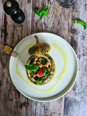 Courgette ronde farcie champignons
