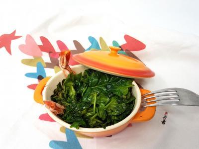 Epinards et crevettes