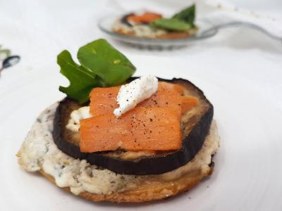 Pizza saumon et aubegines