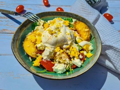 Salade roquette peche et burrata 1 sur 1