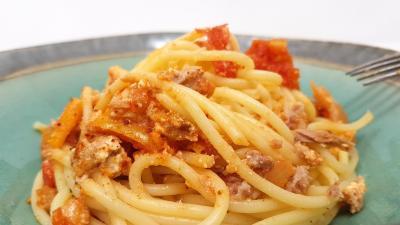 Spaghettis brandade et thon